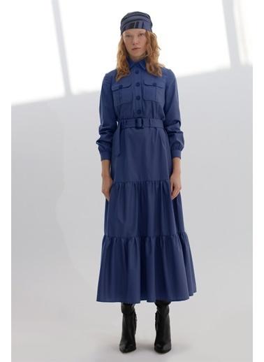 Vivencia Önden Düğmeli Fırfır Detaylı Poplin Kadın Elbise İndigo İndigo